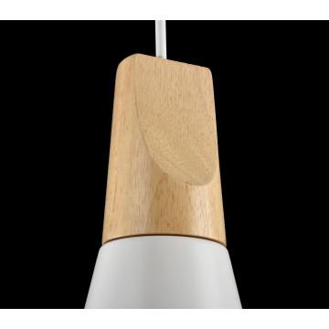 Подвесной светильник Maytoni Modern Bicones P359-PL-140-W (mod359-11-w), 1xE27x60W, белый, коричневый, металл с деревом, металл - миниатюра 7