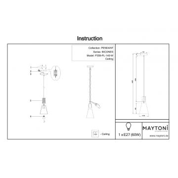 Схема с размерами Maytoni P359-PL-140-W
