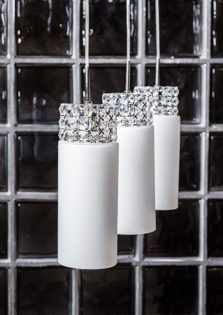 Подвесной светильник Maytoni Collana P077-PL-03-N (F007-33-N), никель, белый, прозрачный, металл, стекло - фото 1