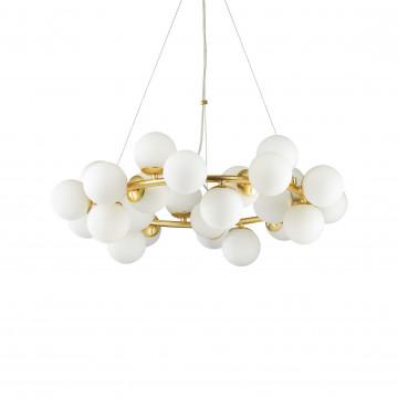 Подвесная люстра Ideal Lux DNA SP25 208398, 25xG9x15W, матовое золото, белый, металл, стекло