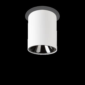 Потолочный светодиодный светильник Ideal Lux NITRO 15W ROUND BIANCO 205977, LED 15W 3000K 1350lm, белый, черный, металл, пластик