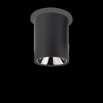 Потолочный светодиодный светильник Ideal Lux NITRO 15W ROUND NERO 205984, LED 15W 3000K 1350lm, черный, металл, пластик