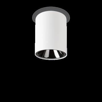 Потолочный светодиодный светильник Ideal Lux NITRO 10W ROUND BIANCO 205991, LED 10W 3000K 900lm, белый, черный, металл, пластик