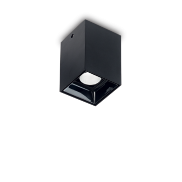 Потолочный светодиодный светильник Ideal Lux NITRO 10W SQUARE NERO 206042, LED 10W 3000K 900lm, черный, металл, пластик