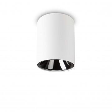 Потолочный светодиодный светильник Ideal Lux NITRO 15W ROUND BIANCO 205977, LED 15W 3000K 1350lm, белый, черно-белый, металл, металл с пластиком