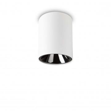 Потолочный светодиодный светильник Ideal Lux NITRO 10W ROUND BIANCO 205991, LED 10W 3000K 900lm, белый, черно-белый, металл, металл с пластиком
