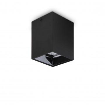 Потолочный светодиодный светильник Ideal Lux NITRO 15W SQUARE NERO 206028, LED 15W 3000K 1350lm, черный, металл, металл с пластиком