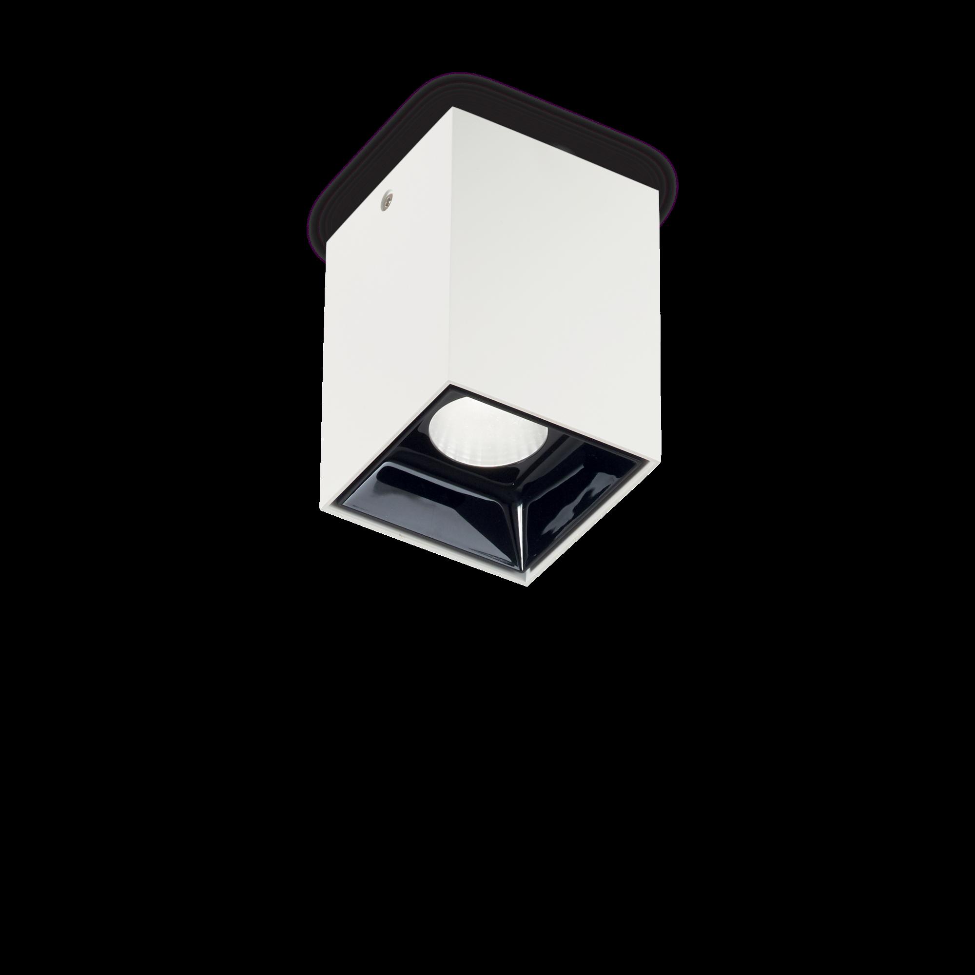 Потолочный светодиодный светильник Ideal Lux NITRO 10W SQUARE BIANCO 206035, LED 10W 3000K 900lm, белый, черно-белый, металл, металл с пластиком - фото 1