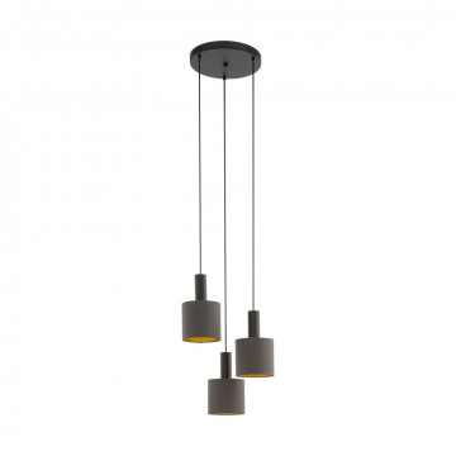 Люстра-каскад Eglo Concessa 1 97684, 3xE27x60W, коричневый, серый, металл, текстиль