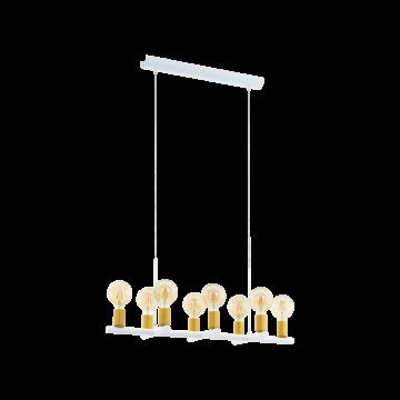 Подвесной светильник Eglo Adri 2 97448, 8xE27x60W, белый, матовое золото, металл