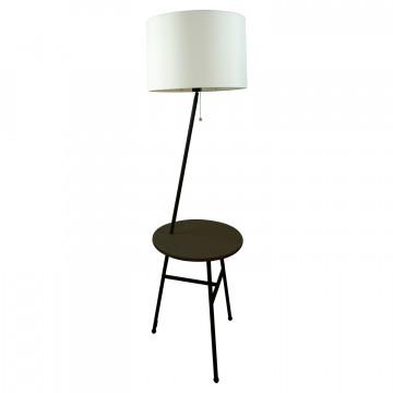 Торшер со столиком Lussole LGO Truxton LSP-9908, IP21, 1xE27x60W, черный, белый, дерево, металл, текстиль