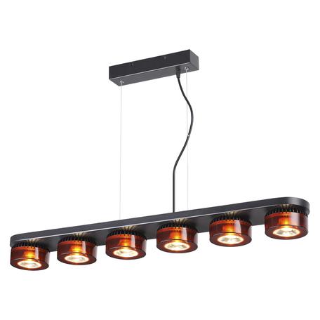 Подвесной светодиодный светильник Odeon Light Vivace 3818/60L 3500K (дневной), черный, янтарь, металл, стекло