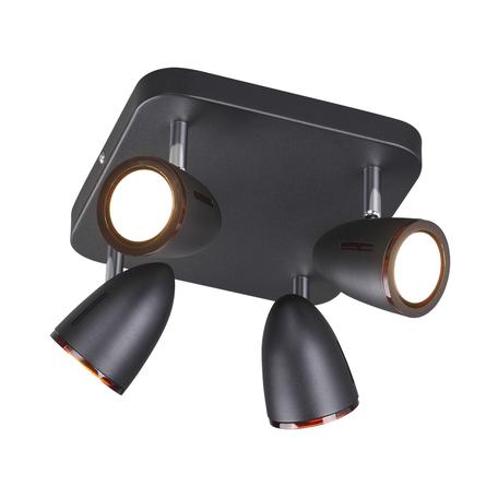 Потолочная люстра с регулировкой направления света Odeon Light Reanna 3824/4C, 4xGU10x50W, черный, коричневый, металл