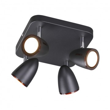 Потолочная люстра с регулировкой направления света Odeon Light 3824/4C, черный, коричневый, металл