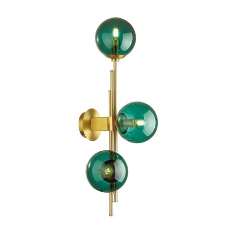 Бра Odeon Light Pendant Brazeri 4800/3W, 3xE14x60W, бронза, зеленый, металл, стекло