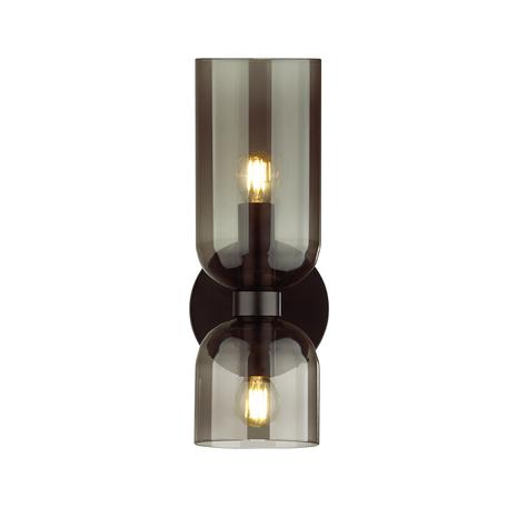 Бра Odeon Light Midcent Orinoco 4804/2W, 2xE14x60W, черный, дымчатый, металл, стекло
