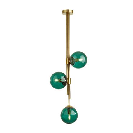 Потолочный светильник на составной штанге Odeon Light Pendant Brazeri 4800/3, 3xE14x60W, бронза, зеленый, металл, стекло
