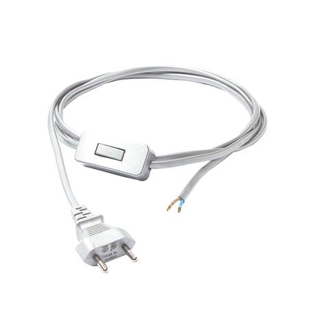 Кабель питания с выключателем и вилкой Nowodvorski Cameleon Cable with switch 8612, белый, пластик