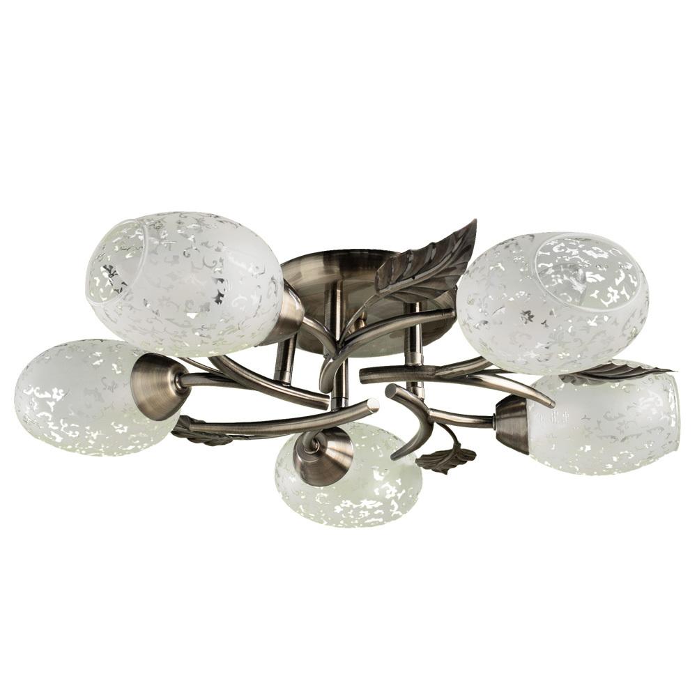Потолочная люстра Arte Lamp Anetta A6157PL-5AB, 5xE14x60W, бронза, белый, металл, стекло - фото 1