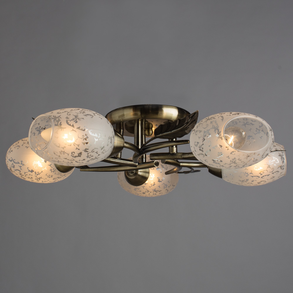 Потолочная люстра Arte Lamp Anetta A6157PL-5AB, 5xE14x60W, бронза, белый, металл, стекло - фото 2