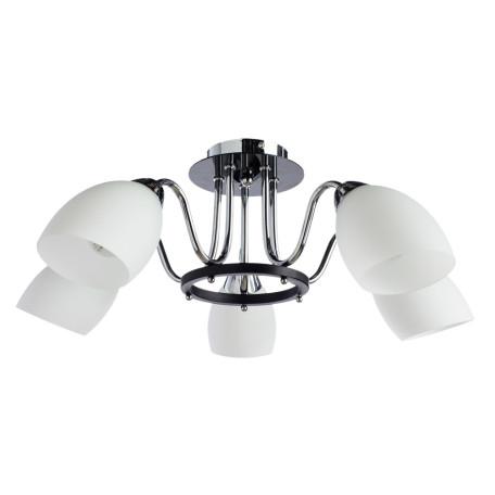 Потолочная люстра Arte Lamp Fiorentino A7144PL-5BK, 5xE14x40W, черный, белый, металл, стекло