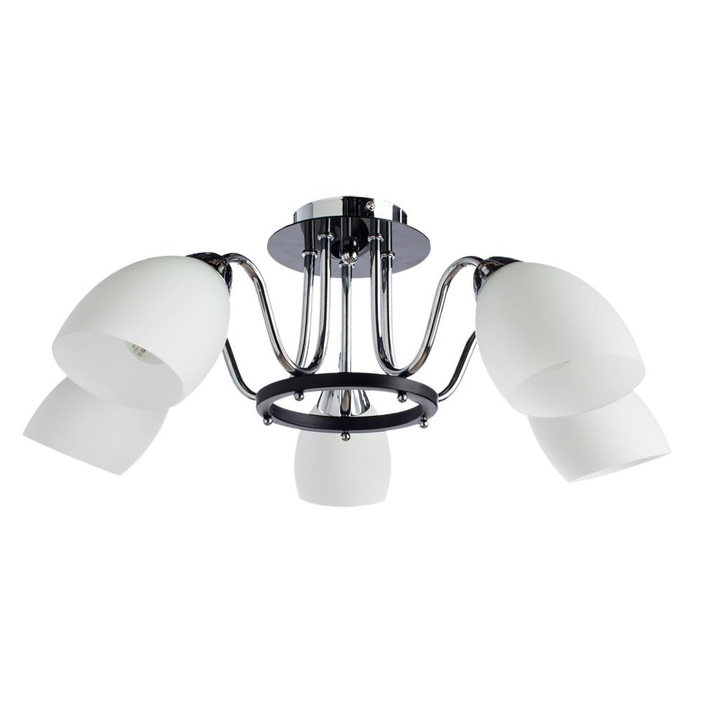 Потолочная люстра Arte Lamp Fiorentino A7144PL-5BK, 5xE14x40W, хром, черный, белый, металл, стекло - фото 1