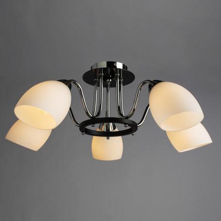 Потолочная люстра Arte Lamp Fiorentino A7144PL-5BK, 5xE14x40W, хром, черный, белый, металл, стекло - миниатюра 2