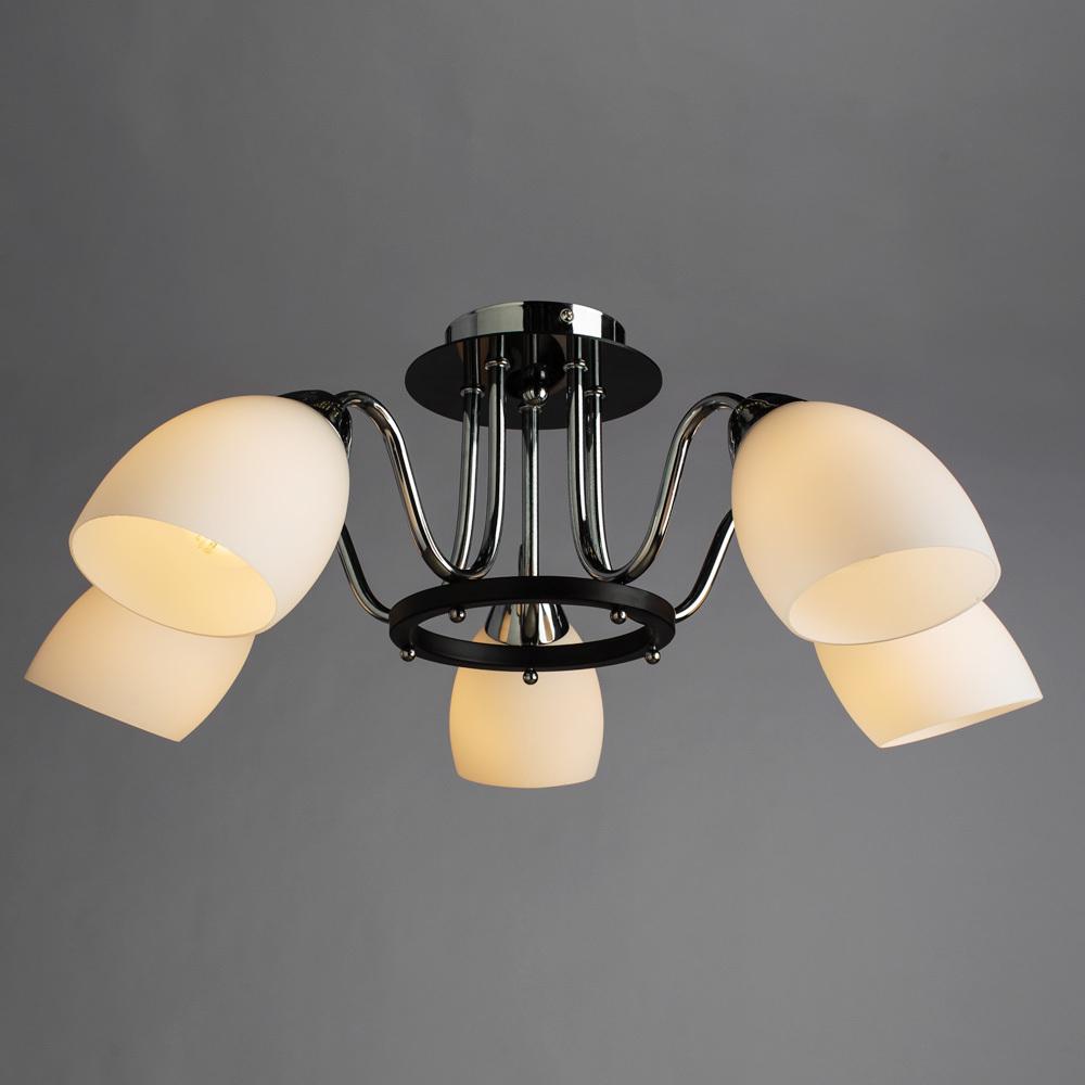 Потолочная люстра Arte Lamp Fiorentino A7144PL-5BK, 5xE14x40W, хром, черный, белый, металл, стекло - фото 2