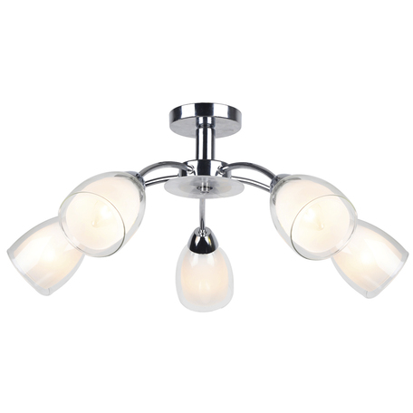 Потолочная люстра Arte Lamp Carmela A7201PL-5CC, 5xE14x40W, хром, белый, прозрачный, металл, стекло