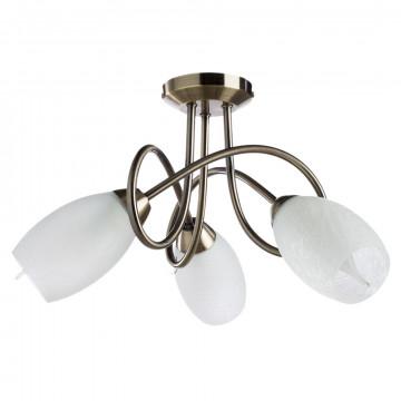 Потолочная люстра Arte Lamp Mutti A8616PL-3AB, 3xE14x40W, бронза, белый, металл, стекло
