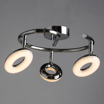 Потолочная светодиодная люстра с регулировкой направления света Arte Lamp Ciambella A8972PL-3CC, LED 13,5W 3000K 960lm CRI≥80, хром, металл, пластик - миниатюра 2