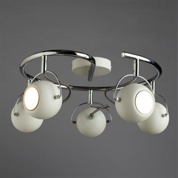 Потолочная люстра с регулировкой направления света Arte Lamp Spia A9128PL-5WH, 5xGU10x50W, белый, хром, металл - миниатюра 2