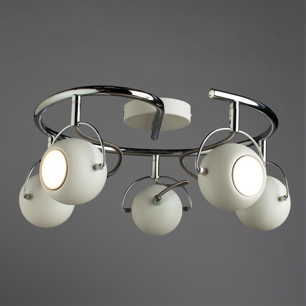 Потолочная люстра с регулировкой направления света Arte Lamp Spia A9128PL-5WH, 5xGU10x50W, белый, хром, металл - фото 2