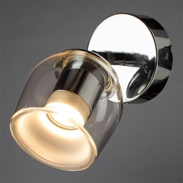 Потолочный светодиодный светильник с регулировкой направления света Arte Lamp Echeggio A1558AP-1CC 3000K (теплый), хром, белый, прозрачный, металл, стекло