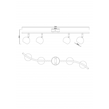 Схема с размерами Arte Lamp A6251PL-4WH