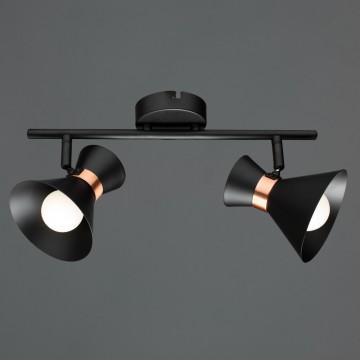 Потолочный светильник с регулировкой направления света Arte Lamp Baltimore A1406AP-2BK, 2xE14x40W, черный, медь, металл
