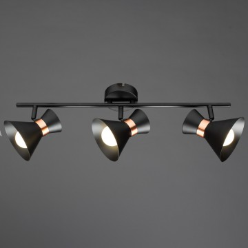 Потолочный светильник с регулировкой направления света Arte Lamp Baltimore A1406PL-3BK, 3xE14x40W, черный, медь, металл