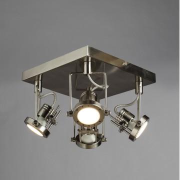 Потолочная люстра с регулировкой направления света Arte Lamp Costruttore A4300PL-4SS, 4xGU10x50W, серебро, металл