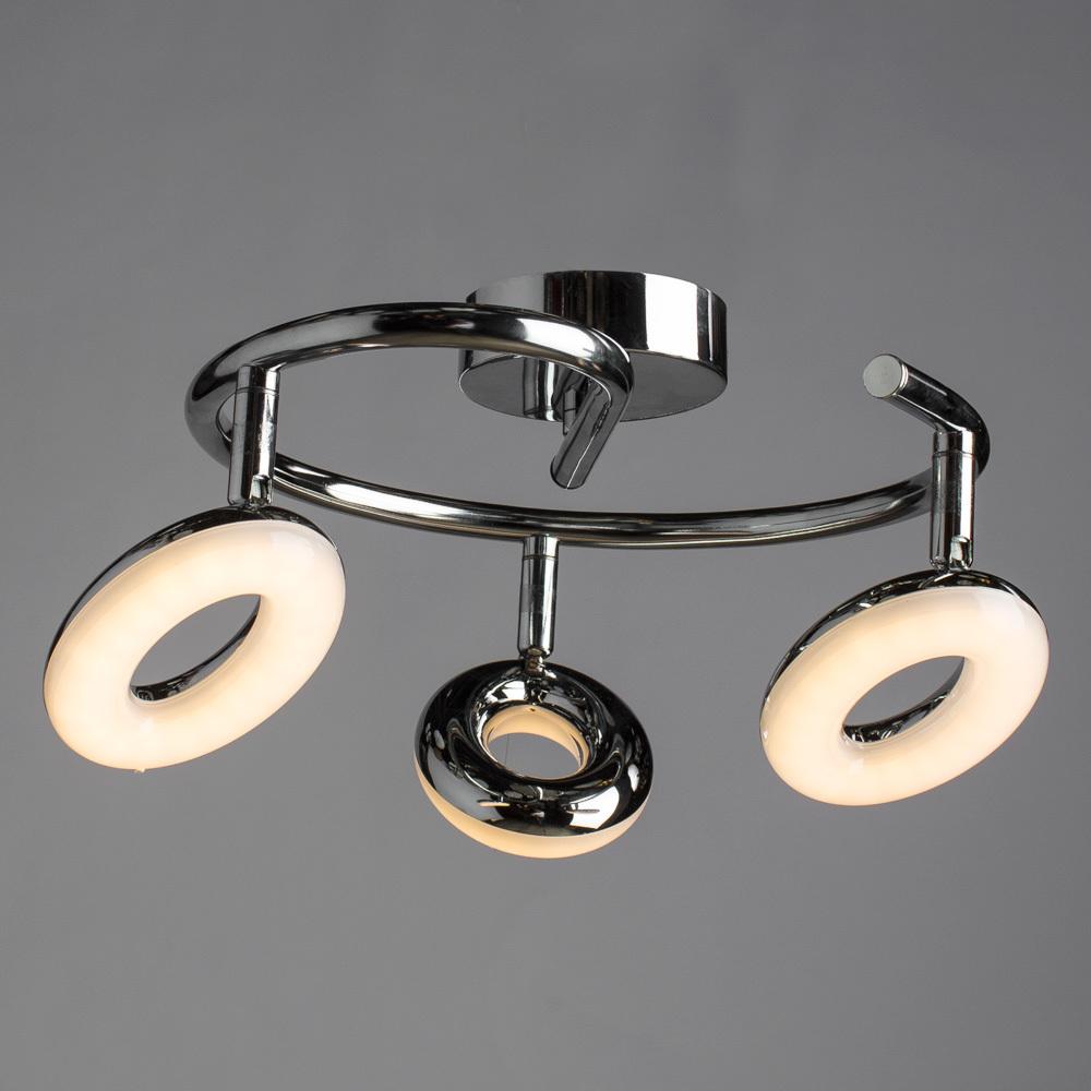 Потолочная светодиодная люстра с регулировкой направления света Arte Lamp Ciambella A8972PL-3CC, LED 13,5W 3000K (теплый), хром, металл, пластик - фото 1