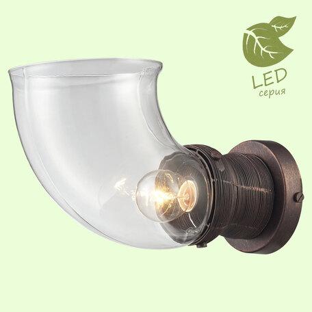 Бра Lussole Ithaca GRLSP-9127, IP21, 1xE14x6W, коричневый с золотой патиной, прозрачный, металл, стекло
