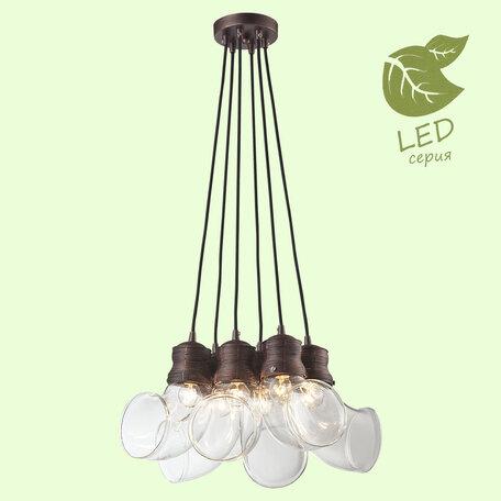 Подвесная люстра Lussole Ithaca GRLSP-9627, IP21, 6xE14x6W, коричневый с золотой патиной, прозрачный, металл, стекло
