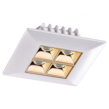Встраиваемый светодиодный светильник Novotech Antey 357834, IP33, LED 10W 3000K (теплый), белый, золото, металл