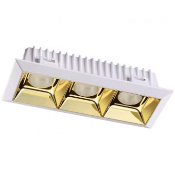 Встраиваемый светодиодный светильник Novotech Antey 357849, IP33, LED 21W 3000K (теплый), белый, золото, металл