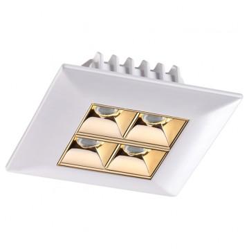 Встраиваемый светодиодный светильник Novotech Antey 357834, IP33, LED 10W, 3000K (теплый), белый, золото, металл