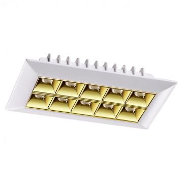 Встраиваемый светодиодный светильник Novotech Antey 357836, IP33, LED 25W, 3000K (теплый), белый, золото, металл