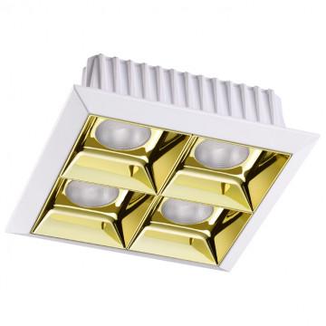 Встраиваемый светодиодный светильник Novotech Antey 357851, IP33, LED 28W, 3000K (теплый), белый, золото, металл
