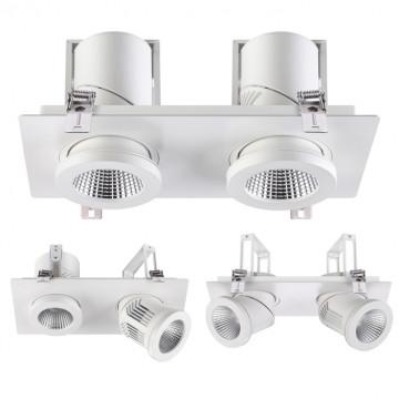 Встраиваемый светодиодный светильник с регулировкой направления света Novotech Spot Prometa 357874, LED 50W 3000K 2000lm, белый, металл