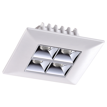 Встраиваемый светодиодный светильник Novotech Spot Antey 357833, IP33, LED 10W 3000K 1100lm, белый с хромом, металл