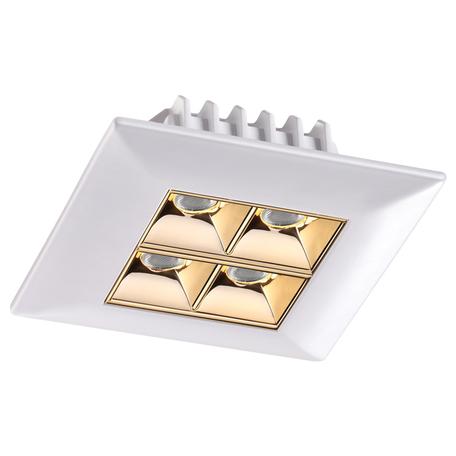 Встраиваемый светодиодный светильник Novotech Spot Antey 357834, IP33, LED 10W 3000K 1100lm, белый, золото, металл
