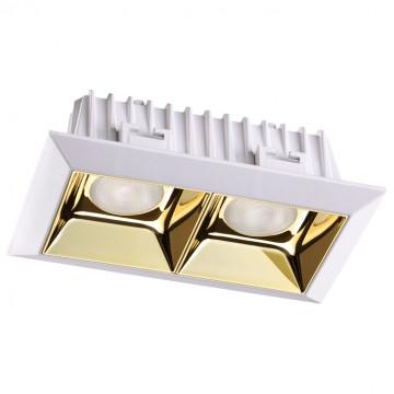 Встраиваемый светодиодный светильник Novotech Spot Antey 357847, IP33, LED 14W 3000K 1540lm, белый, золото, металл